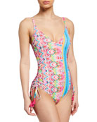 Johnny Was Francesca Printed One-Piece Swimsuit