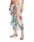 Johnny Was Emilia Printed Cotton-Silk Sarong Coverup