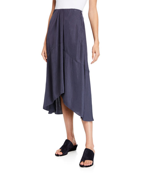 Vince Twist Drape Midi Skirt with Pockets