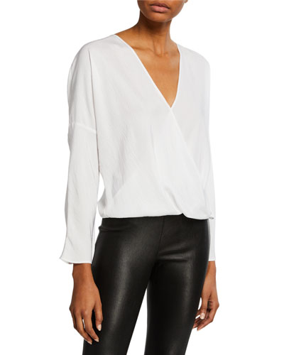 f45323e759e24c Quick Look. Vince · Cross-Front Long-Sleeve Blouse. Available in White