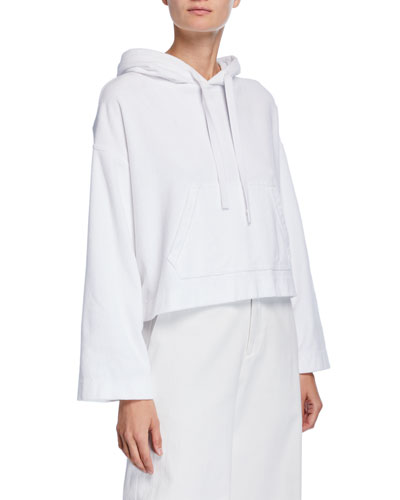 Wide-Sleeve Cotton Pullover Hoodie