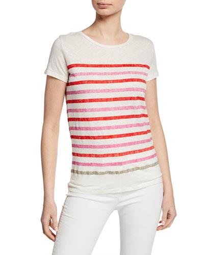 Striped Crewneck Short-Sleeve Stretch-Linen T-Shirt