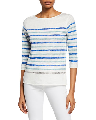 Two-Tone Striped Boat-Neck 3/4-Sleeve Stretch-Linen Tee