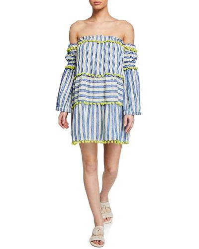 30fc256444b8 Quick Look. Tessora · Petra Off-Shoulder Jacquard Dress ...