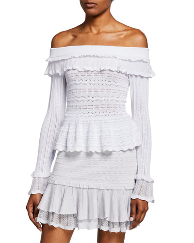 Lacey Off-Shoulder Scalloped Ruffle Top