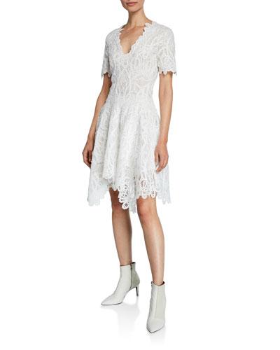 V-Neck Threaded Lace Ruffle Dress