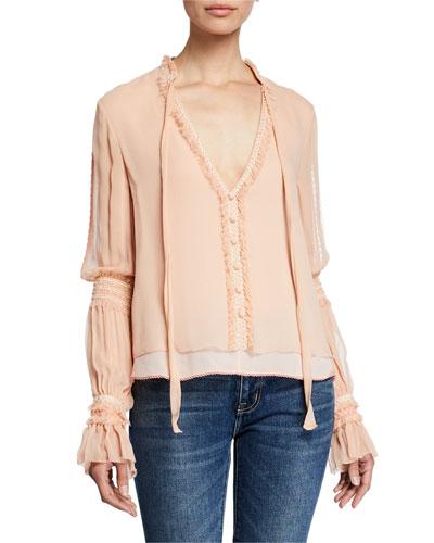 Smocked Chiffon Long-Sleeve Blouse