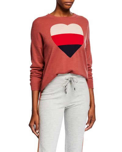 Heart Crewneck Long-Sleeve Wool-Blend Sweater