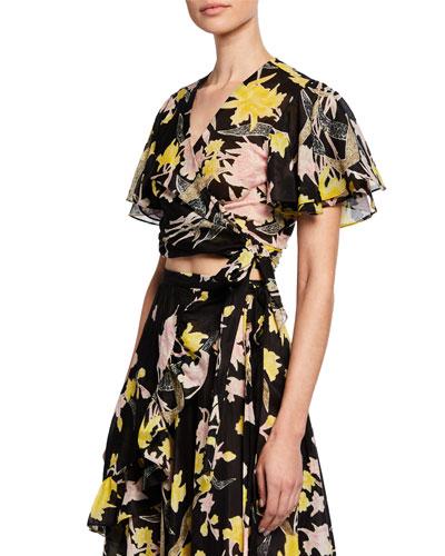 18760c96a0bb5c Quick Look. Diane von Furstenberg · Sara Floral Flutter-Sleeve Wrap Top