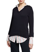 Bailey 44 Twofer Layered Knit Sweater Top