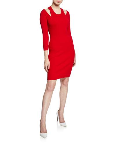 Savoir Faire 3/4-Sleeve Sweater Dress with Cutouts