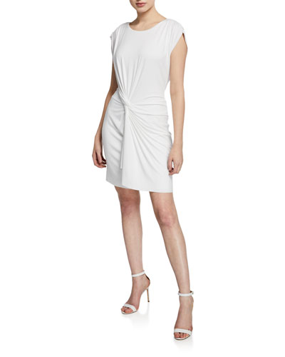 Dernier Cri Short-Sleeve Twist-Front Jersey Dress