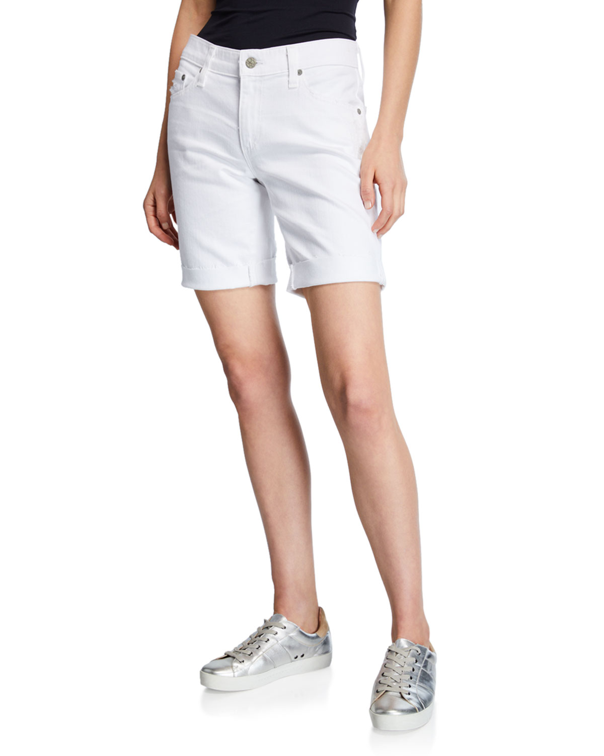 AG Nikki Distressed Relaxed Skinny Shorts in 1 Yr Abrasion