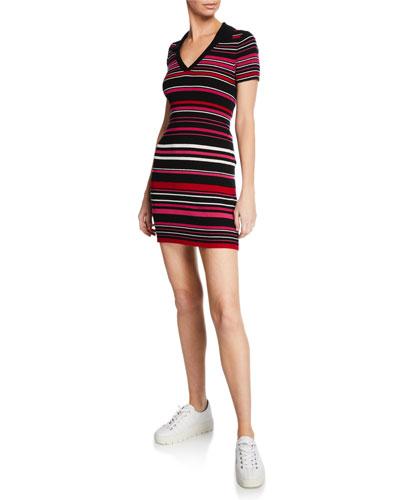 Motley V-Neck Short-Sleeve Striped Sweater Dress
