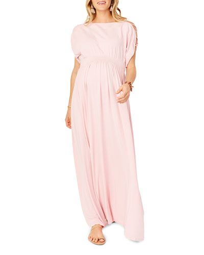 Maternity Laced-Sleeve Smocked Empire Maxi Dress