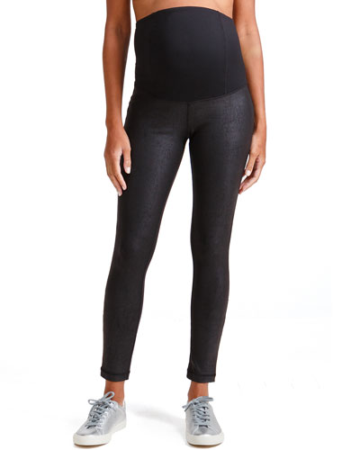 Maternity Leather-Like Active Leggings w/ Crossover Panel