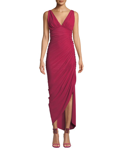 Dory V-Neck Sleeveless Shirred Dress w/ Asymmetric Hem