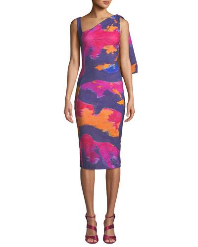 Fizzah Sleeveless Asymmetric Batik-Print Body-Con Dress w/ Draped Shoulder