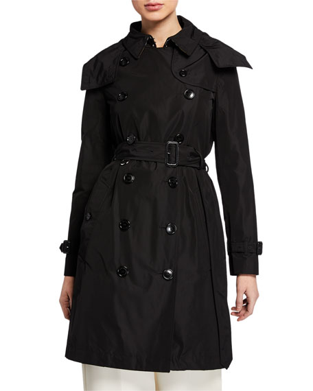 Burberry Kensington Double-Breasted Trench Coat w/ Detachable Hood