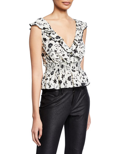 6bc51684dff1ca Quick Look. Likely · Elisabeth Floral-Print Sleeveless Ruffle Top