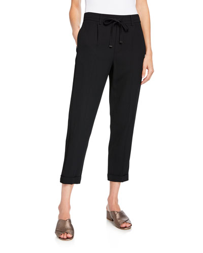 Cropped Drawstring Pull-On Jogger Pants