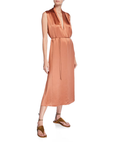 Sleeveless Drape-Neck Silk Shift Dress
