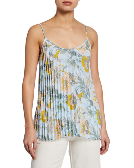 Vince Floral-Print Pleated Camisole
