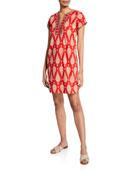 Bella Tu Jaya Cap-Sleeve Dress with Hand-Beading &