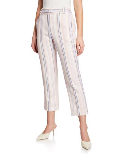 Ginger Striped Linen-Blend Cropped Pants