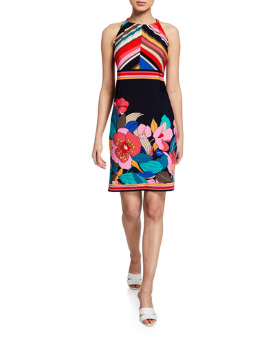 Vacaciones Jet Set Floral-Print Halter Dress