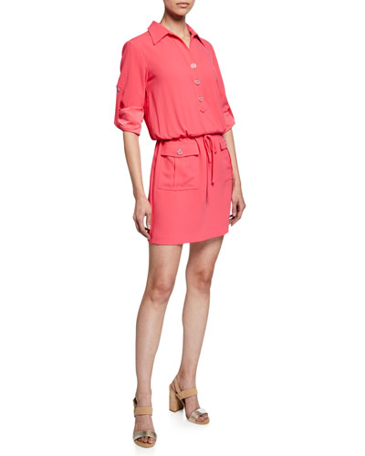 Permit Long-Sleeve Crepe Dress w/ Drawstring-Waist