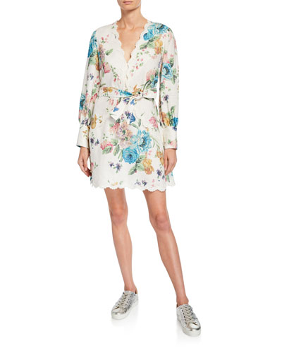Scalloped Linen Floral Long-Sleeve Short Dress