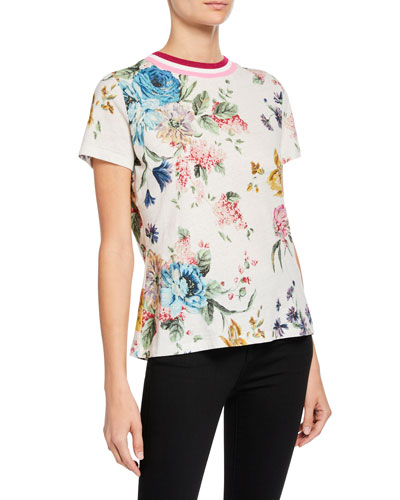 Ninety-Six Linen-Cotton Floral-Print Tee