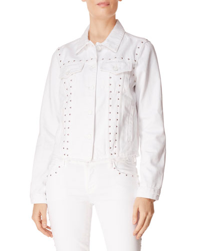 Slim Raw-Edge Studded Denim Jacket