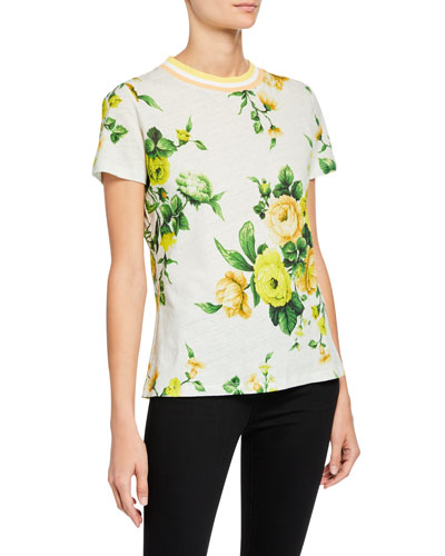 Zippy Floral-Print Crewneck Short-Sleeve Tee
