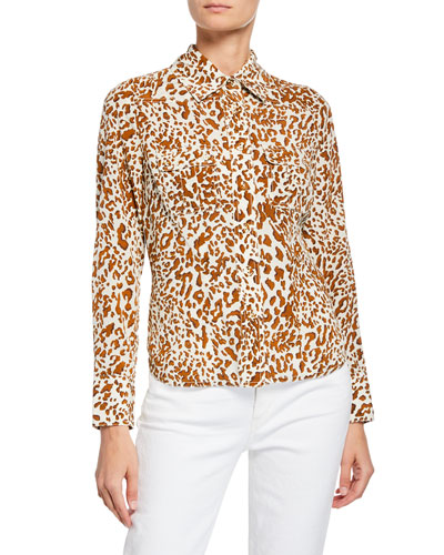 2fc591ba34b Quick Look. Zimmermann · Leopard-Print Button-Down Silk Utility Shirt