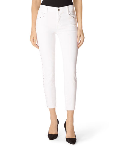 Alana High-Rise Cropped Super Skinny Jeans with Studs