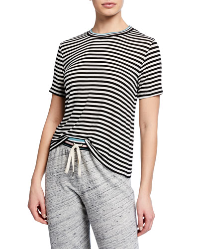 Striped Tee with Contrast Rib