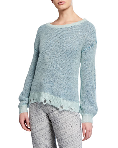 Marina Frayed Crewneck Pullover Sweater