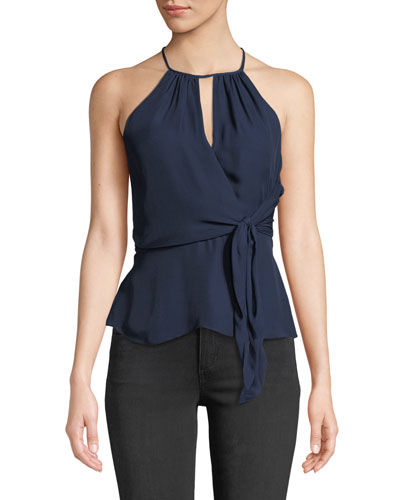 Sally Halter-Neck Top with Tie-Front Detail