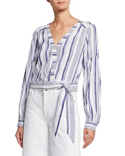 Saskia Striped Long-Sleeve Blouse w/ Tie-Hem