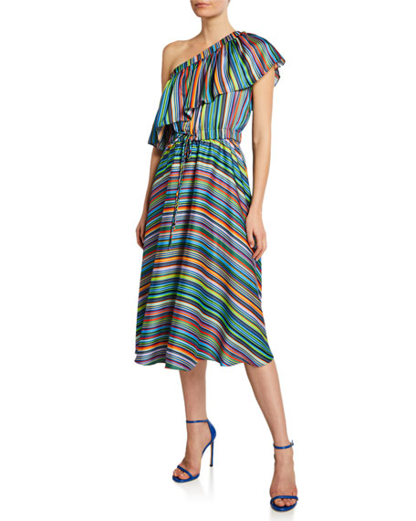 Milly May Stripe One-Shoulder Flare Dress