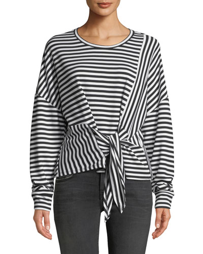 Nanette Striped Long-Sleeve Tie-Front Top