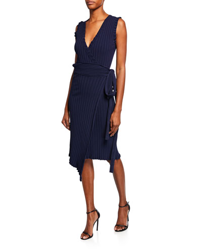 V-Neck Sleeveless Wrap Dress