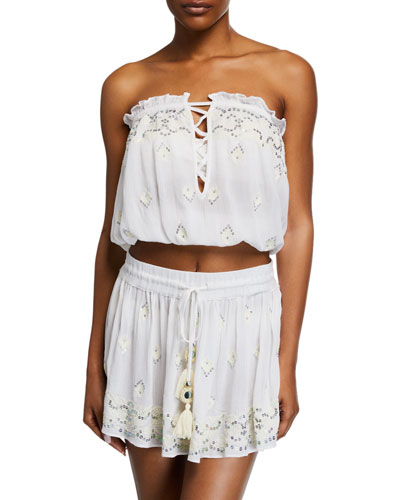 Alessia Embellished Strapless Crop Top