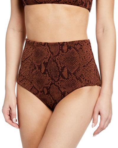 Lydia Snake-Print High-Rise Bikini Bottom