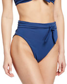 Mara Hoffman Goldie High-Waist Tie-Front Cheeky Bikini Bottom