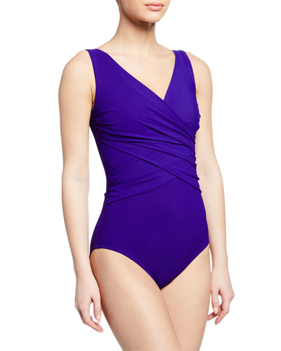 Papy Ruched Surplice One-Piece Swimsuit