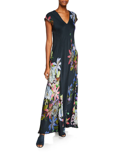Cap Sleeves Maxi Dress Neiman Marcus