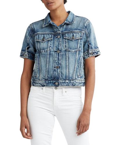 Ruby Contour Cropped Denim Trucker Jacket
